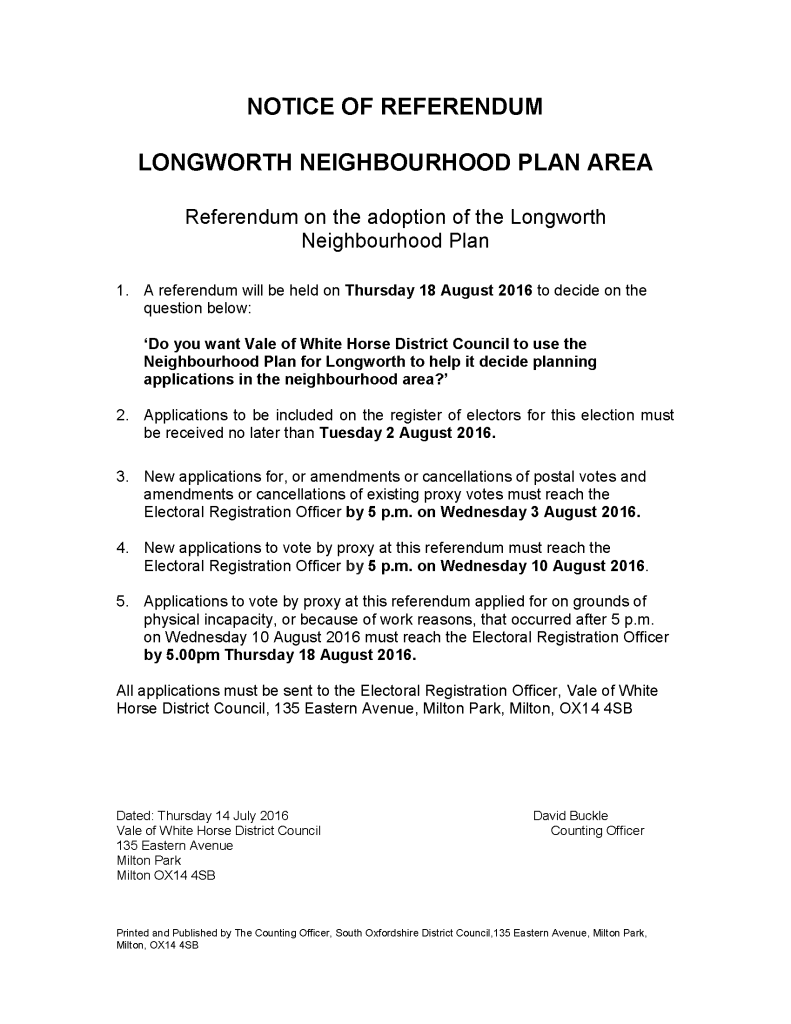 NOTICE OF REFERENDUM - Longworth Neighbourhood Plan Area